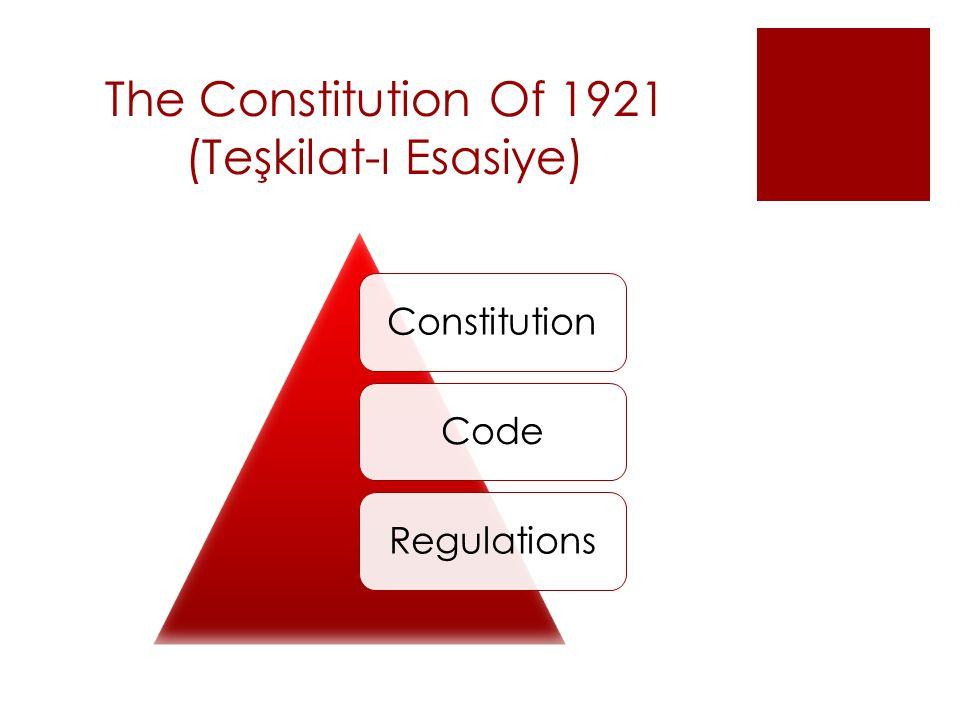 The Constitution Of 1921 (Teşkilat-ı Esasiye) ConstitutionCodeRegulations
