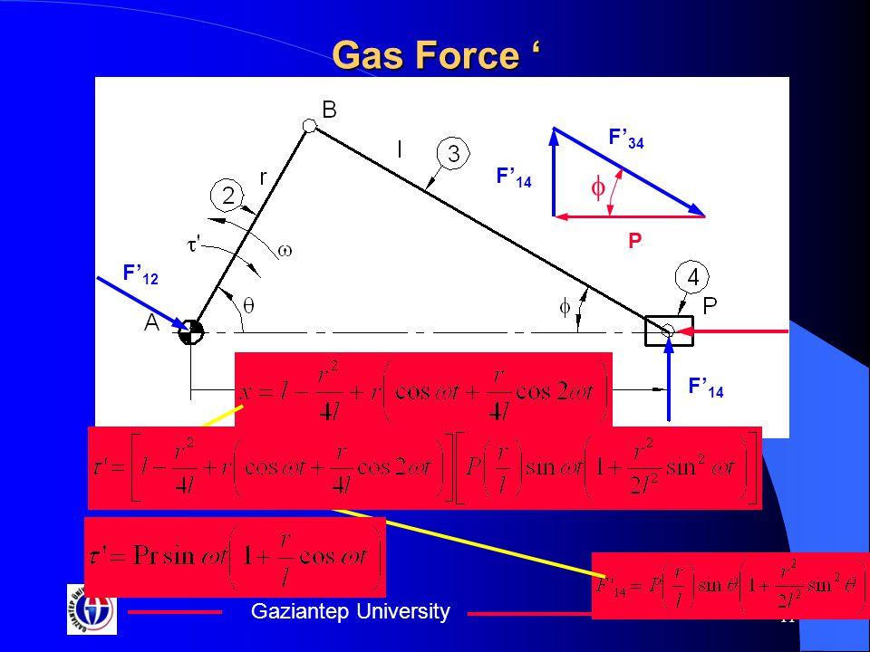 Gaziantep University 11 Gas Force ' F' 12 P F' 34 F' 14 