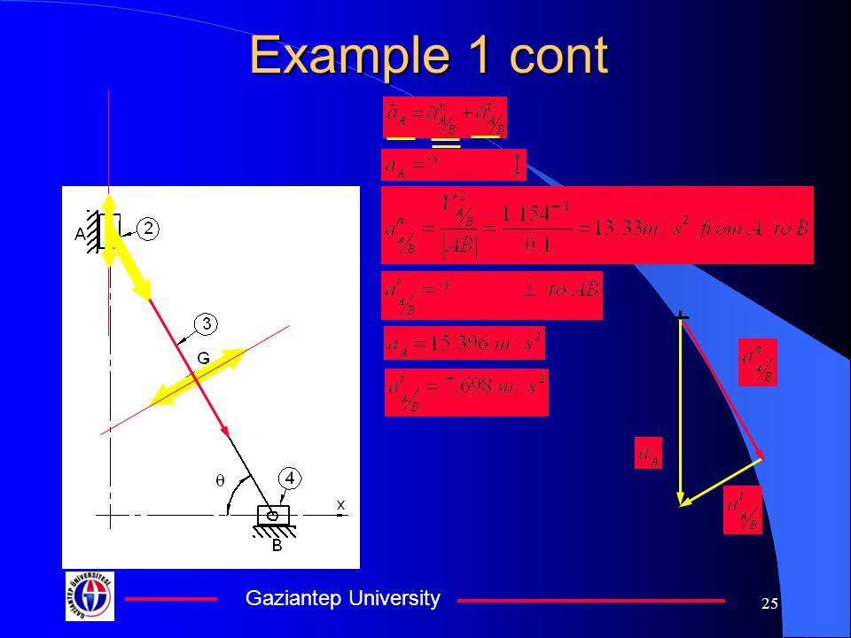 Gaziantep University 25 Example 1 cont