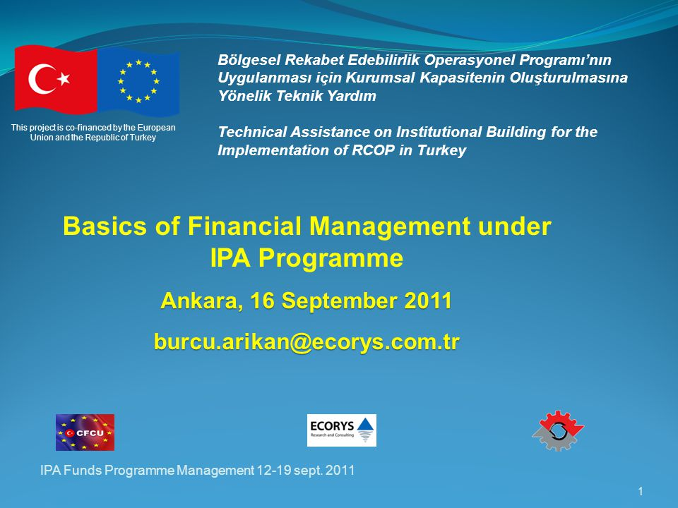 IPA Funds Programme Management 12-19 sept.