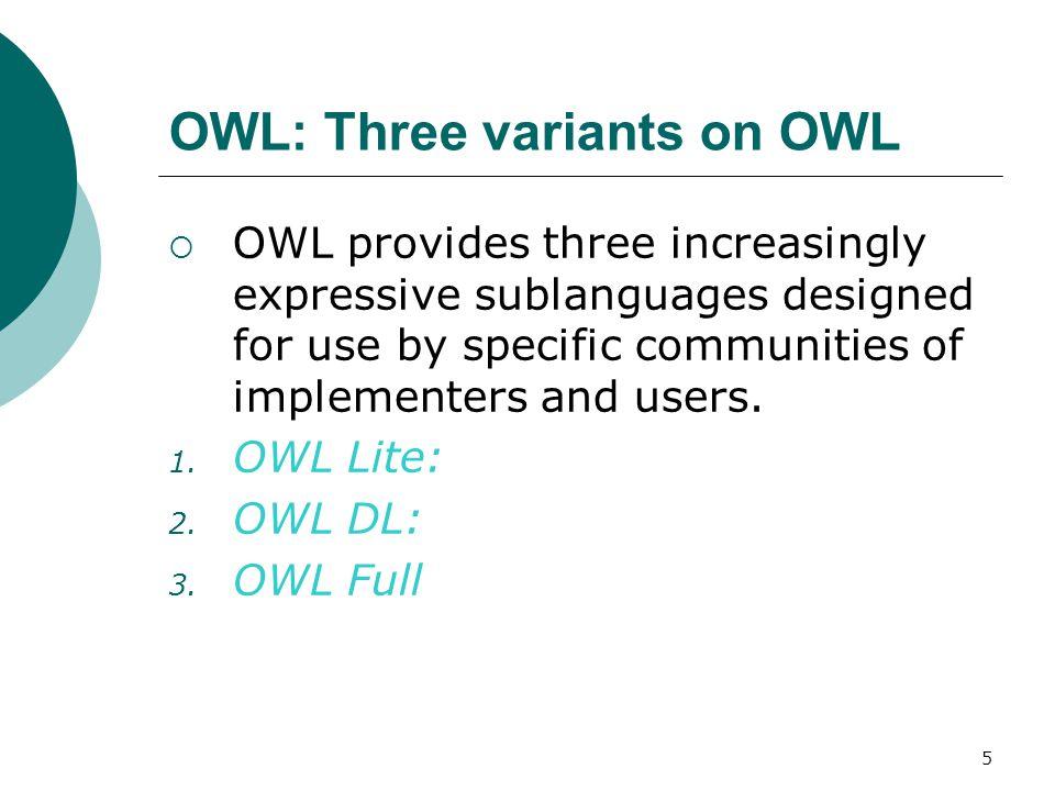 56 OWL-QL bindings  Three types of OWL-QL bindings 1.