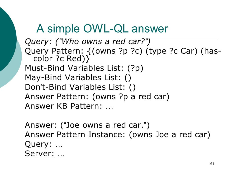 61 A simple OWL-QL answer Query: ( Who owns a red car.