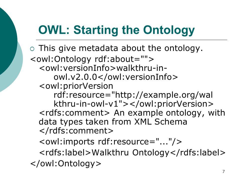 18 OWL: Object Properties  To define Object Properties, we use owl:ObjectProperty.