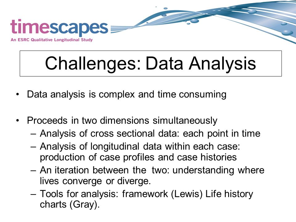 Challenges: Data Analysis Data analysis is complex and time consuming Proceeds in two dimensions simultaneously –Analysis of cross sectional data: each point in time –Analysis of longitudinal data within each case: production of case profiles and case histories –An iteration between the two: understanding where lives converge or diverge.