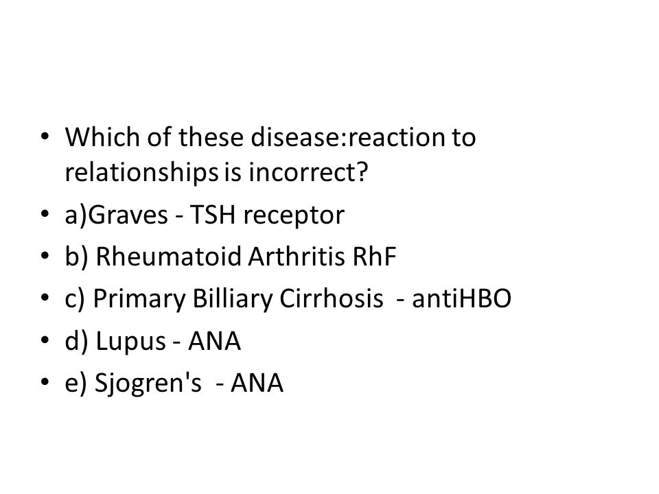Which of these disease:reaction to relationships is incorrect.