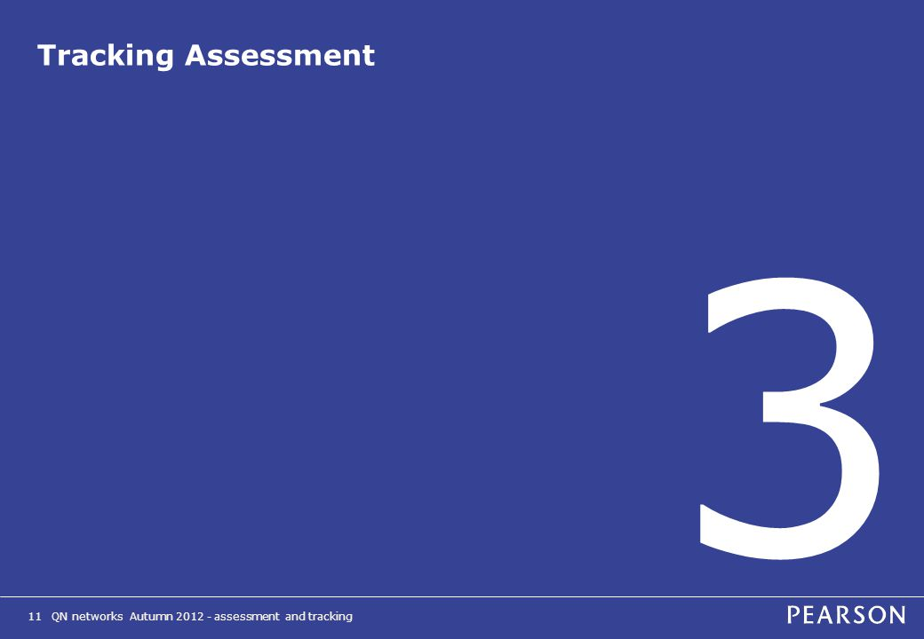 QN networks Autumn 2012 - assessment and tracking11 Tracking Assessment 3
