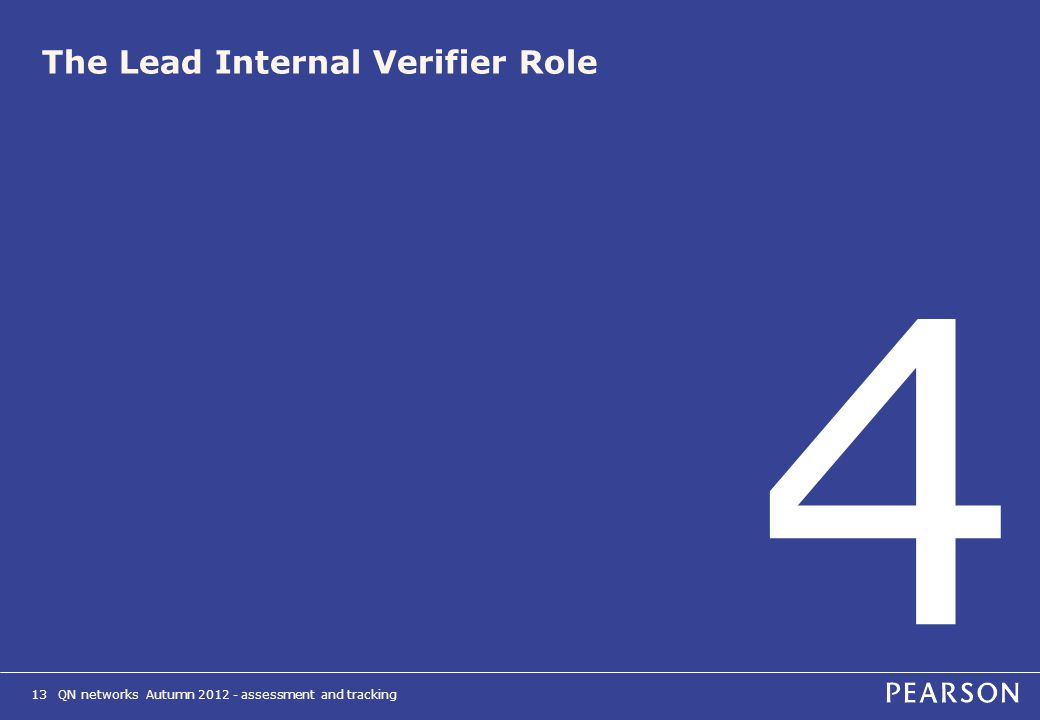 QN networks Autumn 2012 - assessment and tracking13 The Lead Internal Verifier Role 4