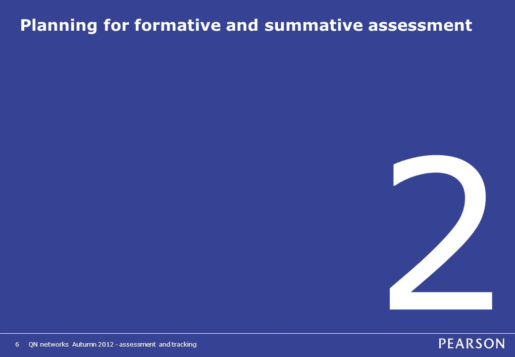 QN networks Autumn 2012 - assessment and tracking6 Planning for formative and summative assessment 2