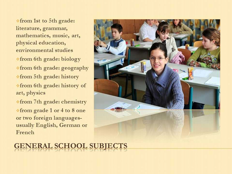  from 1st to 5th grade: literature, grammar, mathematics, music, art, physical education, environmental studies  from 6th grade: biology  from 6th