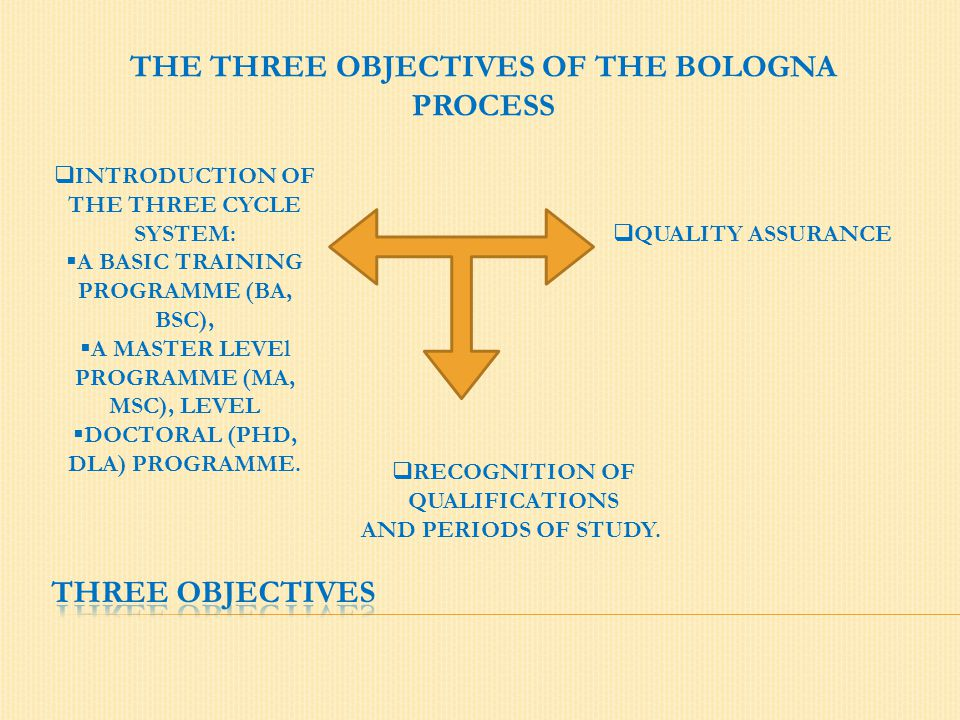 THE THREE OBJECTIVES OF THE BOLOGNA PROCESS  INTRODUCTION OF THE THREE CYCLE SYSTEM:  A BASIC TRAINING PROGRAMME (BA, BSC),  A MASTER LEVEl PROGRAM
