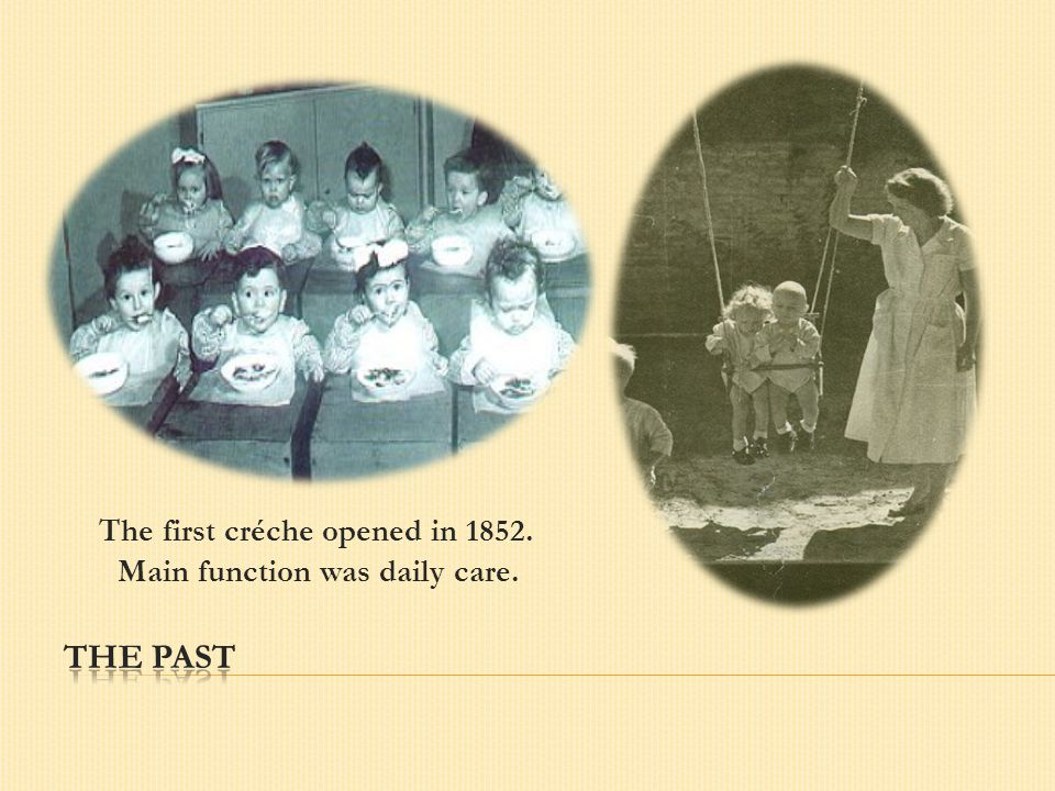 The first créche opened in 1852. Main function was daily care.