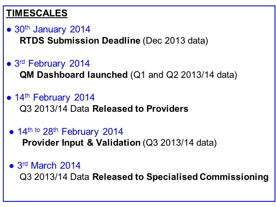 TIMESCALES ● 30 th January 2014 RTDS Submission Deadline (Dec 2013 data) ● 3 rd February 2014 QM Dashboard launched (Q1 and Q2 2013/14 data) ● 14 th February 2014 Q3 2013/14 Data Released to Providers ● 14 th to 28 th February 2014 Provider Input & Validation (Q3 2013/14 data) ● 3 rd March 2014 Q3 2013/14 Data Released to Specialised Commissioning