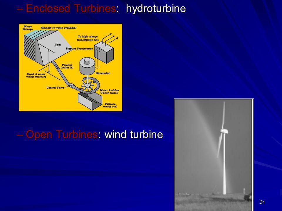 31 –Enclosed Turbines: hydroturbine –Open Turbines: wind turbine