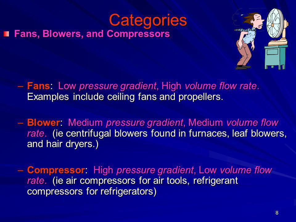 8 Categories Fans, Blowers, and Compressors –Fans: Low pressure gradient, High volume flow rate. Examples include ceiling fans and propellers. –Blower