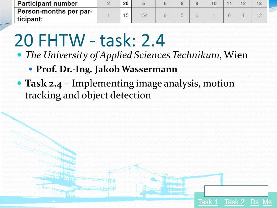 20 FHTW - task: 2.4 The University of Applied Sciences Technikum, Wien Prof. Dr.-Ing. Jakob Wassermann Task 2.4 – Implementing image analysis, motion