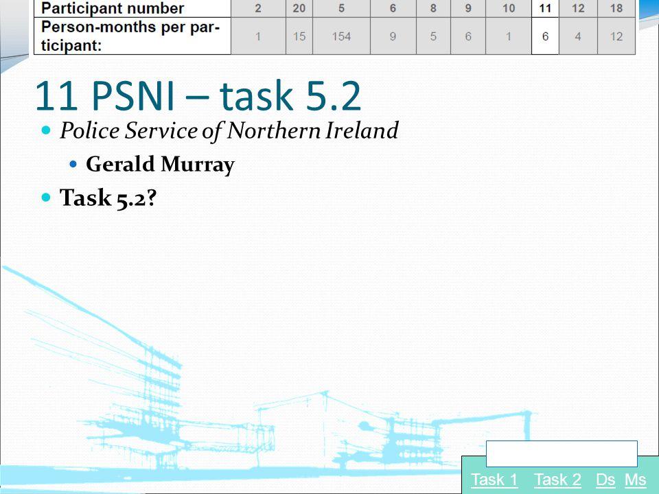 11 PSNI – task 5.2 Police Service of Northern Ireland Gerald Murray Task 5.2? Task 1Task 2 Navigate to: DsMs