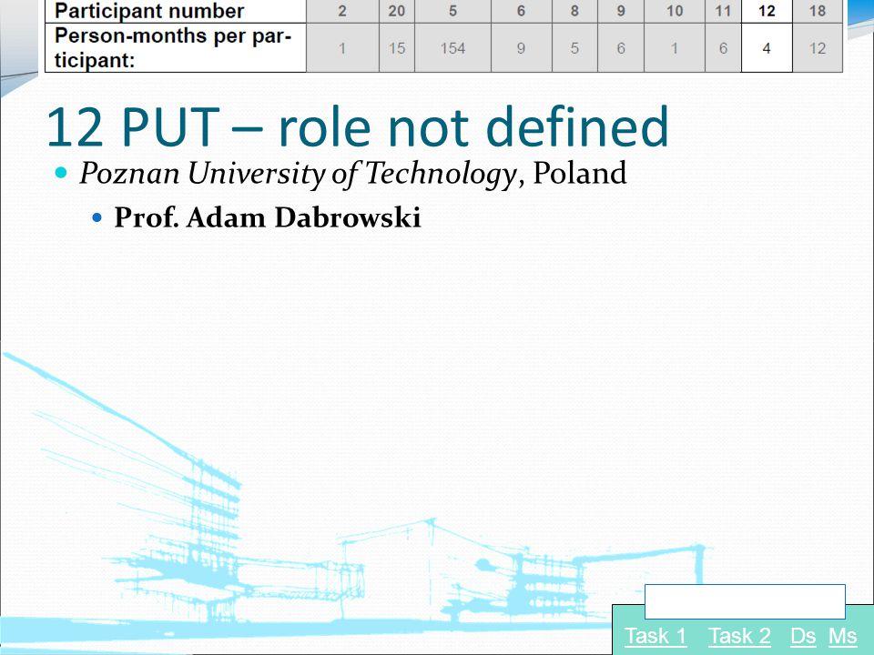 12 PUT – role not defined Poznan University of Technology, Poland Prof. Adam Dabrowski Task 1Task 2 Navigate to: DsMs