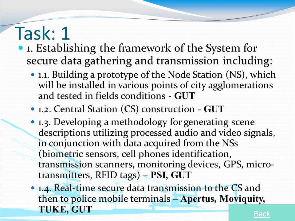 Task: 1 1. Establishing the framework of the System for secure data gathering and transmission including: 1.1. Building a prototype of the Node Statio