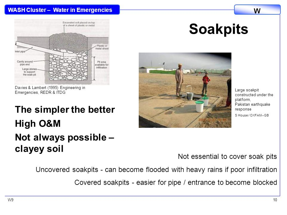 WASH Cluster – Water in Emergencies W W911 Using Wastewater for Other Purposes Wastewater can be collected for other uses: –Animal watering –Collection by bucket for use on small vegetable gardens –Feed directly into a small garden Each needs appropriate management Cattle trough constructed for wastewater on a community water point, Zimbabwe S House / ACF