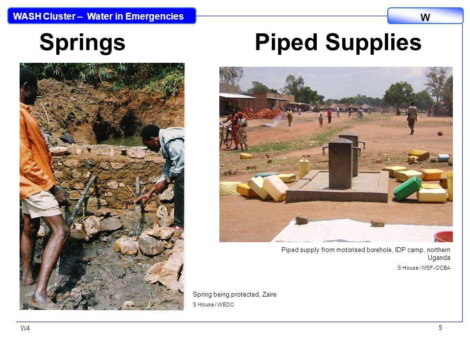 WASH Cluster – Water in Emergencies W W4 6 Deep Groundwater Surface Water Submersible pump S House / WaterAid Surface water sources supplying refugee camps, Zaire S House / MSF-OCBA