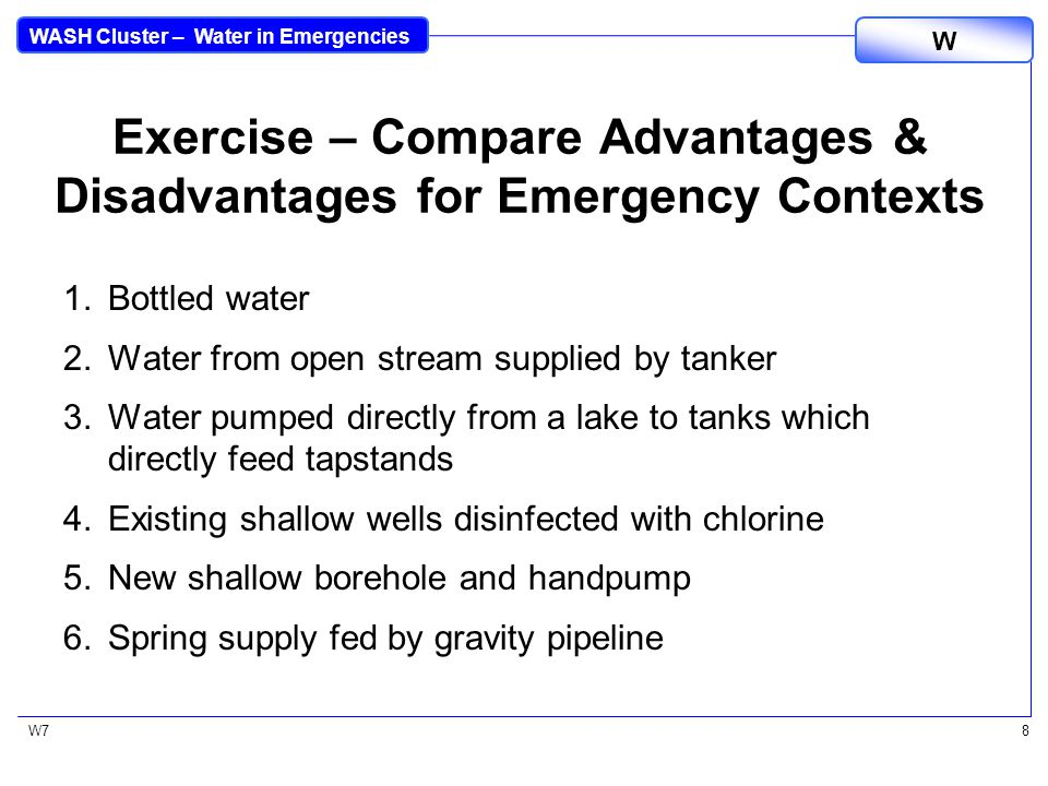 WASH Cluster – Water in Emergencies W W78 Exercise – Compare Advantages & Disadvantages for Emergency Contexts 1.Bottled water 2.Water from open stream supplied by tanker 3.Water pumped directly from a lake to tanks which directly feed tapstands 4.Existing shallow wells disinfected with chlorine 5.New shallow borehole and handpump 6.Spring supply fed by gravity pipeline