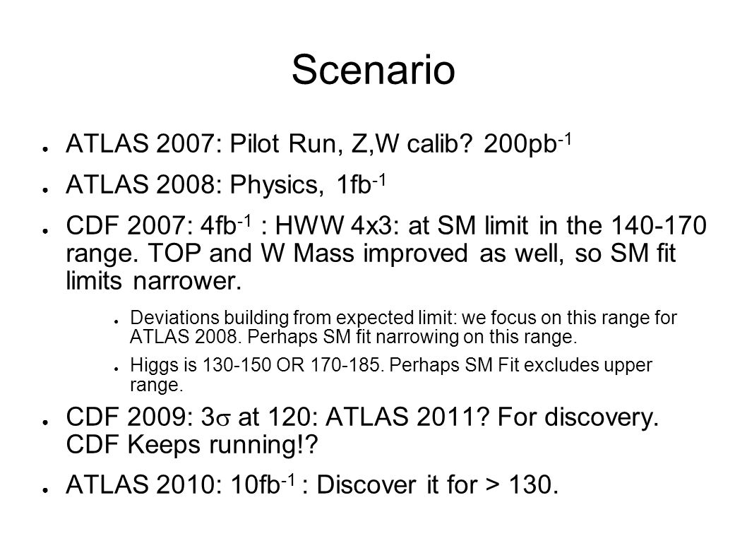 Scenario ● ATLAS 2007: Pilot Run, Z,W calib.