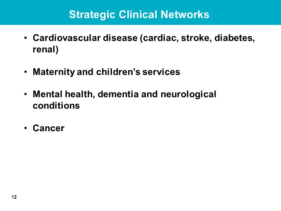 12 Strategic Clinical Networks Cardiovascular disease (cardiac, stroke, diabetes, renal) Maternity and children's services Mental health, dementia and neurological conditions Cancer