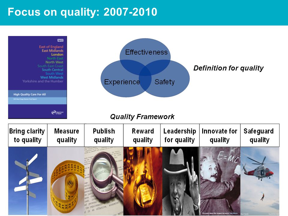 4 Focus on quality: 2007-2010 Quality Framework Definition for quality