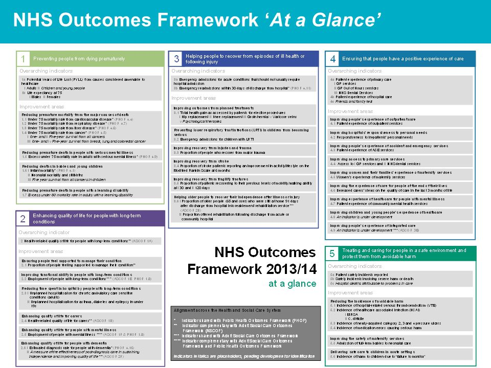 8 NHS Outcomes Framework 'At a Glance'