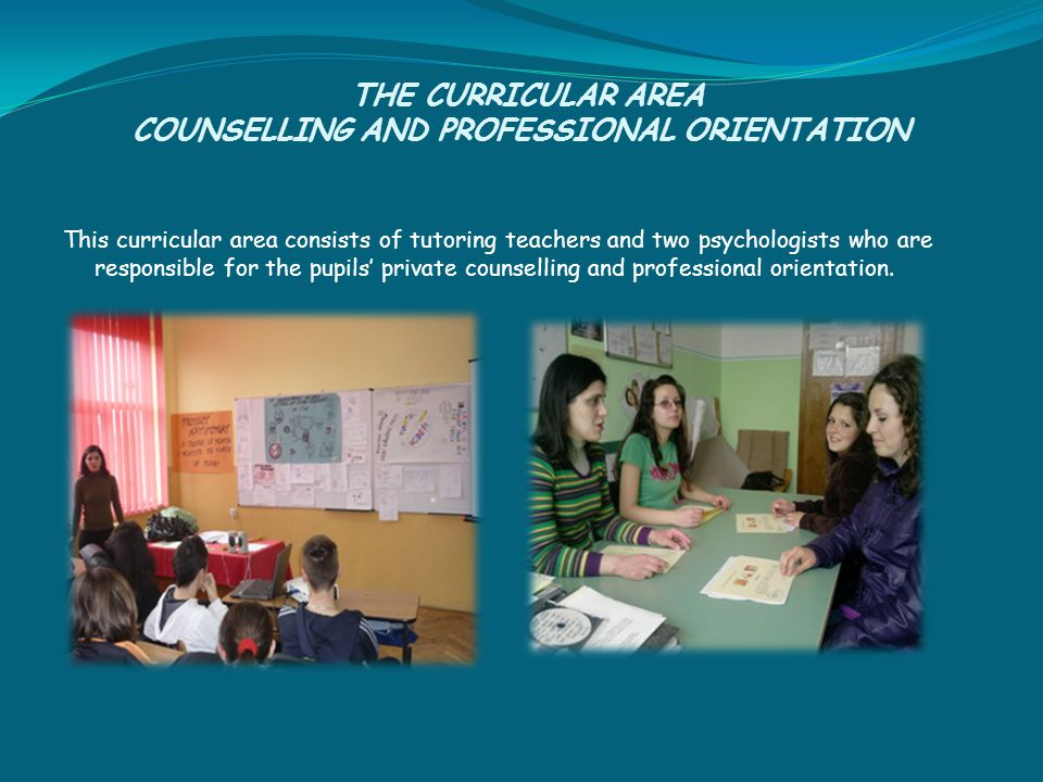 THE CURRICULAR AREA COUNSELLING AND PROFESSIONAL ORIENTATION This curricular area consists of tutoring teachers and two psychologists who are responsible for the pupils' private counselling and professional orientation.