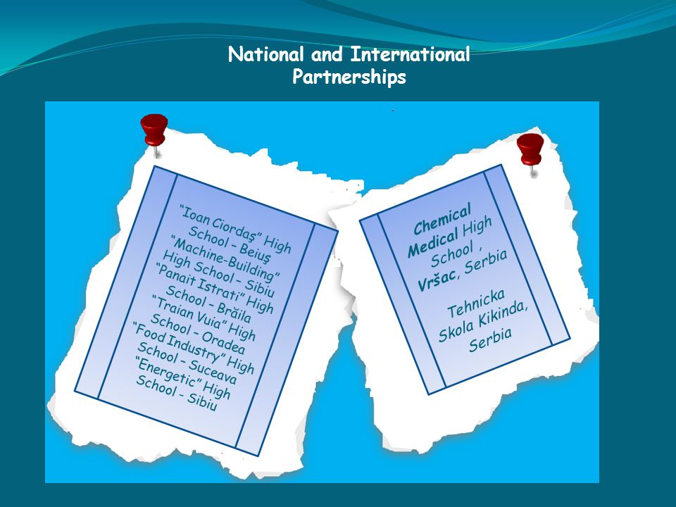 National and International Partnerships Ioan Ciordaş High School – Beiuş Machine-Building High School – Sibiu Panait Istrati High School – Brăila Traian Vuia High School – Oradea Food Industry High School – Suceava Energetic High School - Sibiu Chemical Medical High School, Vršac, Serbia Tehnicka Skola Kikinda, Serbia