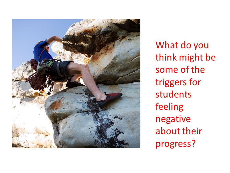 What do you think might be some of the triggers for students feeling negative about their progress