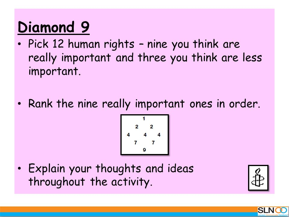 Diamond 9 Pick 12 human rights – nine you think are really important and three you think are less important. Rank the nine really important ones in or
