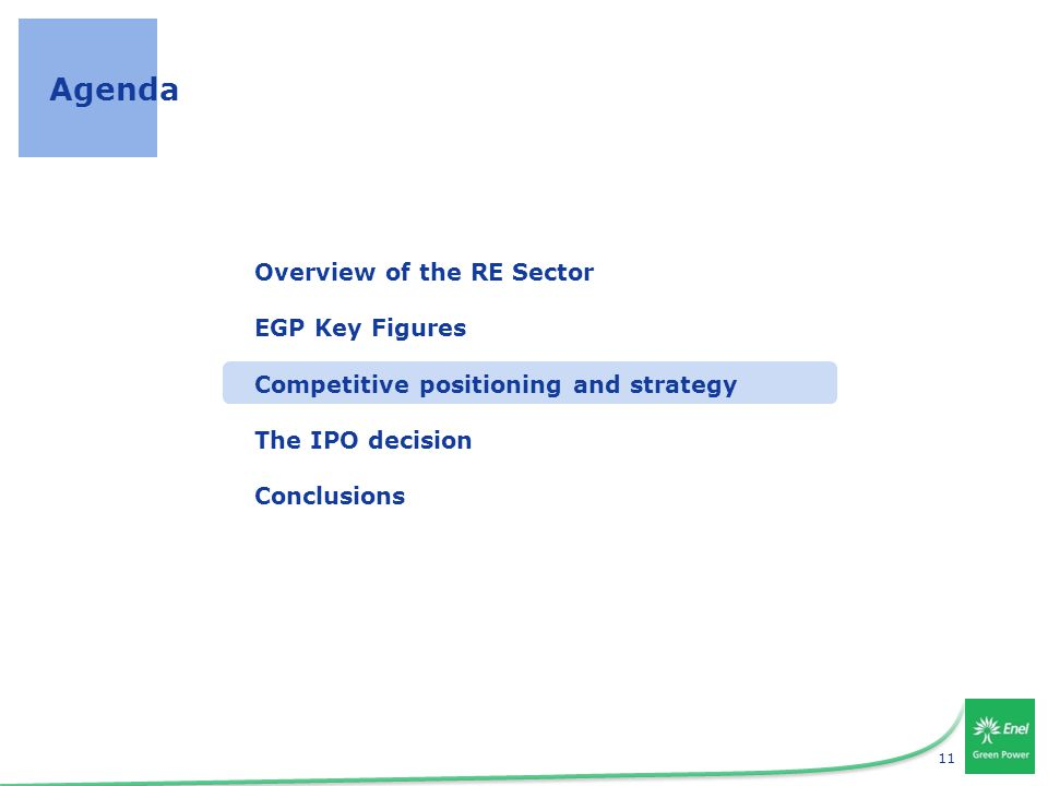 11 Agenda Overview of the RE Sector EGP Key Figures Competitive positioning and strategy The IPO decision Conclusions