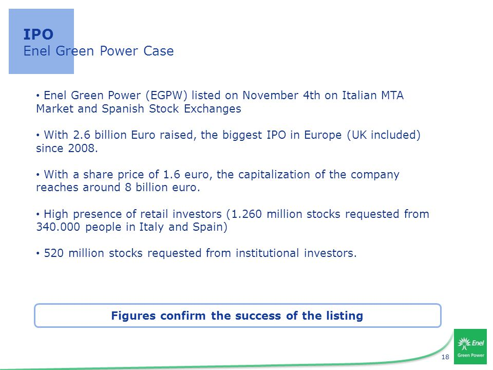 18 IPO Enel Green Power Case Enel Green Power (EGPW) listed on November 4th on Italian MTA Market and Spanish Stock Exchanges With 2.6 billion Euro raised, the biggest IPO in Europe (UK included) since 2008.