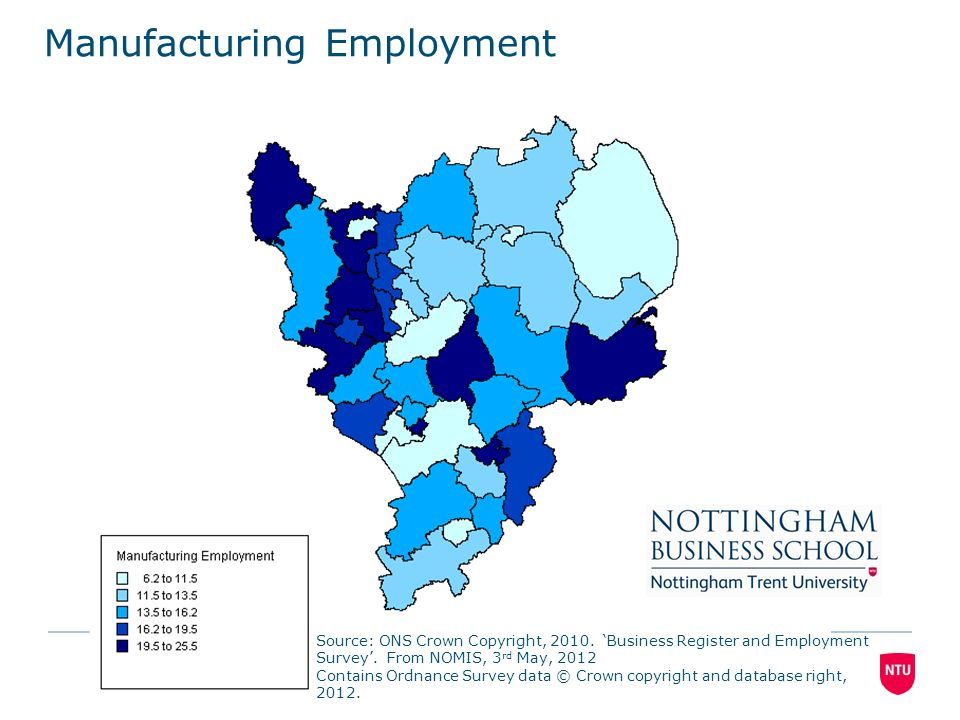 Source: ONS Crown Copyright, 2010. 'Business Register and Employment Survey'. From NOMIS, 3 rd May, 2012 Contains Ordnance Survey data © Crown copyrig