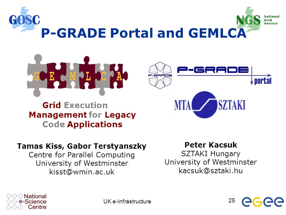 UK e-Infrastructure 25 Grid Execution Management for Legacy Code Applications P-GRADE Portal and GEMLCA Tamas Kiss, Gabor Terstyanszky Centre for Para