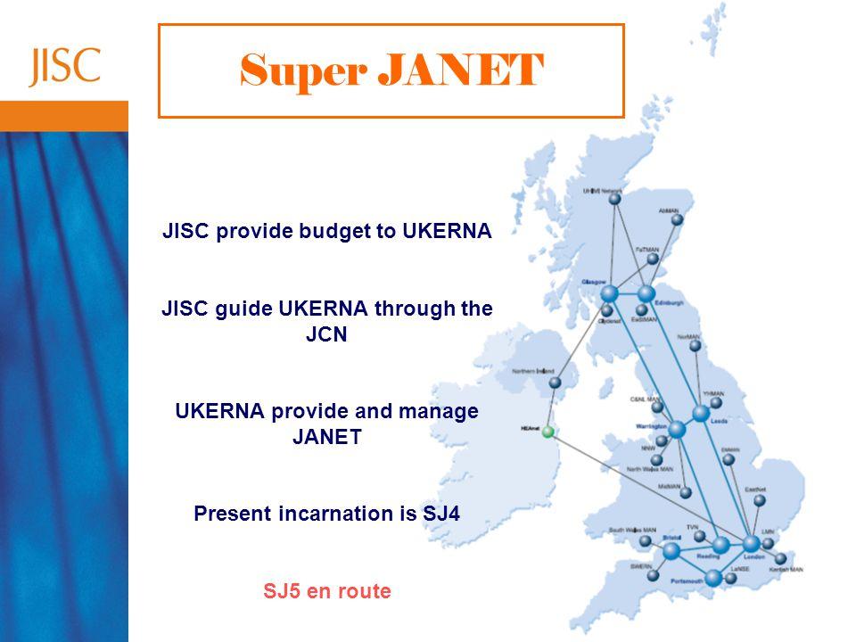 45 Super JANET JISC provide budget to UKERNA JISC guide UKERNA through the JCN UKERNA provide and manage JANET Present incarnation is SJ4 SJ5 en route