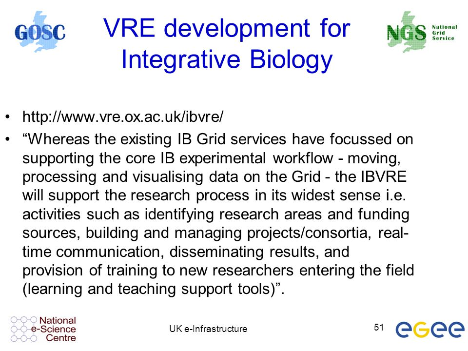 "UK e-Infrastructure 51 VRE development for Integrative Biology http://www.vre.ox.ac.uk/ibvre/ ""Whereas the existing IB Grid services have focussed on"