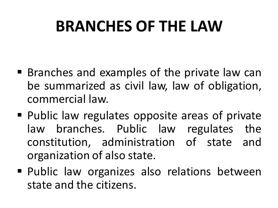 BRANCHES OF THE LAW  Branches and examples of the private law can be summarized as civil law, law of obligation, commercial law.  Public law regulat