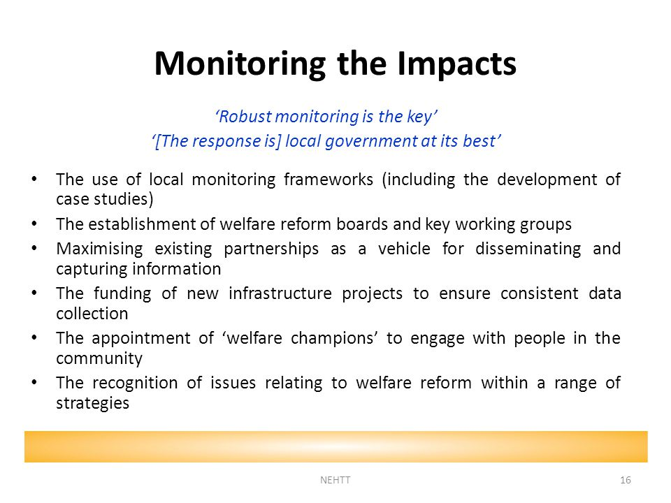Monitoring the Impacts 'Robust monitoring is the key' '[The response is] local government at its best' The use of local monitoring frameworks (including the development of case studies) The establishment of welfare reform boards and key working groups Maximising existing partnerships as a vehicle for disseminating and capturing information The funding of new infrastructure projects to ensure consistent data collection The appointment of 'welfare champions' to engage with people in the community The recognition of issues relating to welfare reform within a range of strategies NEHTT16