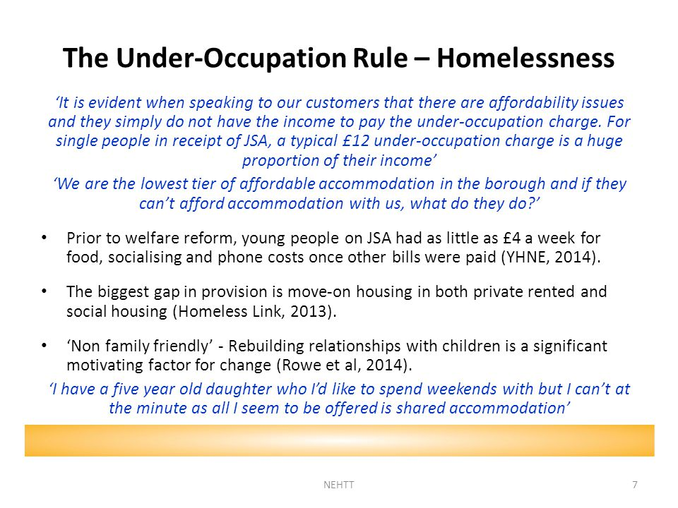 The Under-Occupation Rule – Homelessness 'It is evident when speaking to our customers that there are affordability issues and they simply do not have the income to pay the under-occupation charge.