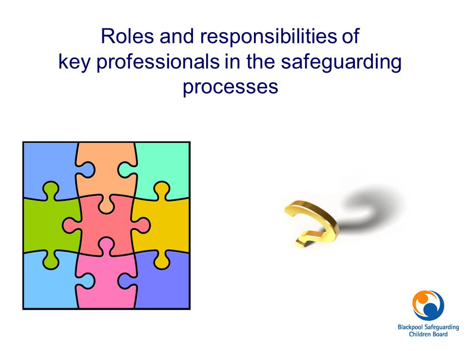 Roles and responsibilities of key professionals in the safeguarding processes