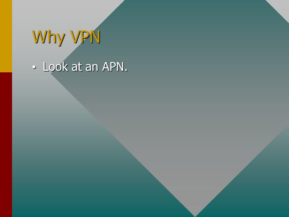 Why VPN Look at an APN. Look at an APN.