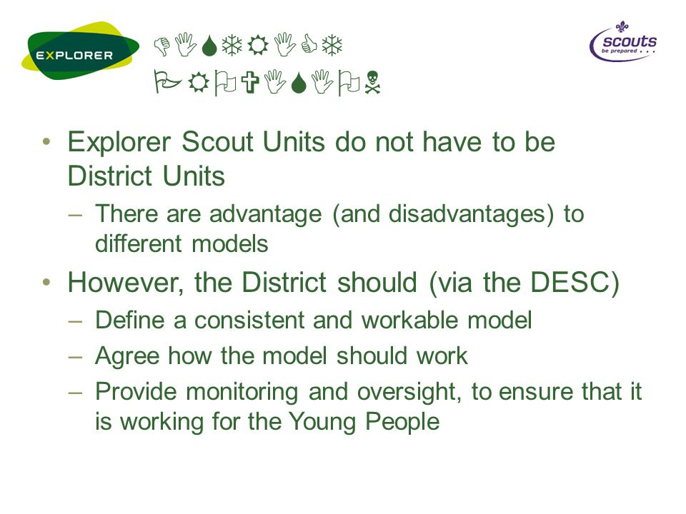 DISTRICT PROVISION Explorer Scout Units do not have to be District Units –There are advantage (and disadvantages) to different models However, the District should (via the DESC) –Define a consistent and workable model –Agree how the model should work –Provide monitoring and oversight, to ensure that it is working for the Young People