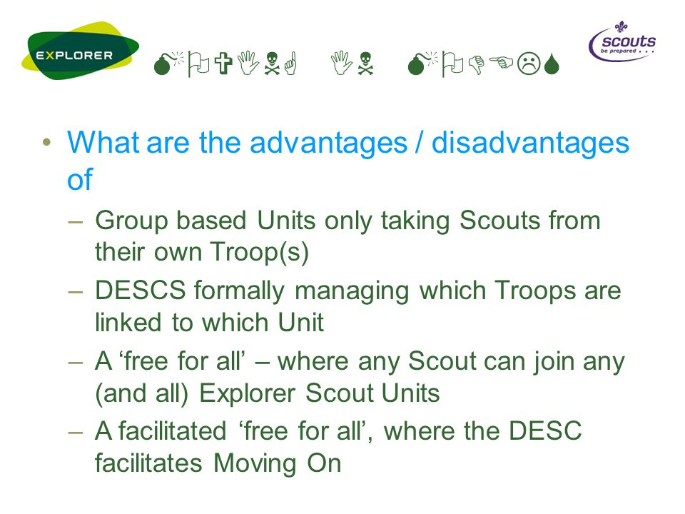 MOVING IN MODELS What are the advantages / disadvantages of –Group based Units only taking Scouts from their own Troop(s) –DESCS formally managing whi