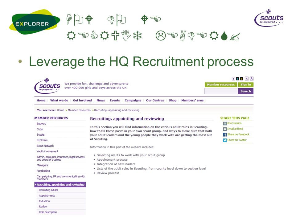 HOW DO WE RECRUIT LEADERS? Leverage the HQ Recruitment process