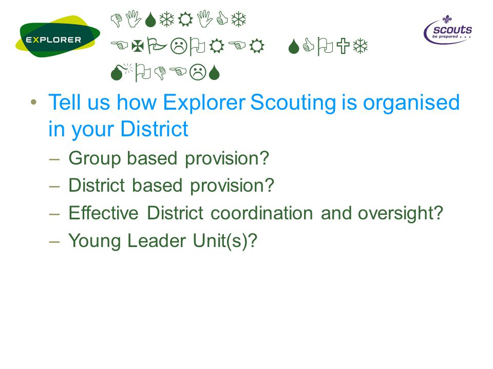 DISTRICT EXPLORER SCOUT MODELS Tell us how Explorer Scouting is organised in your District –Group based provision? –District based provision? –Effecti