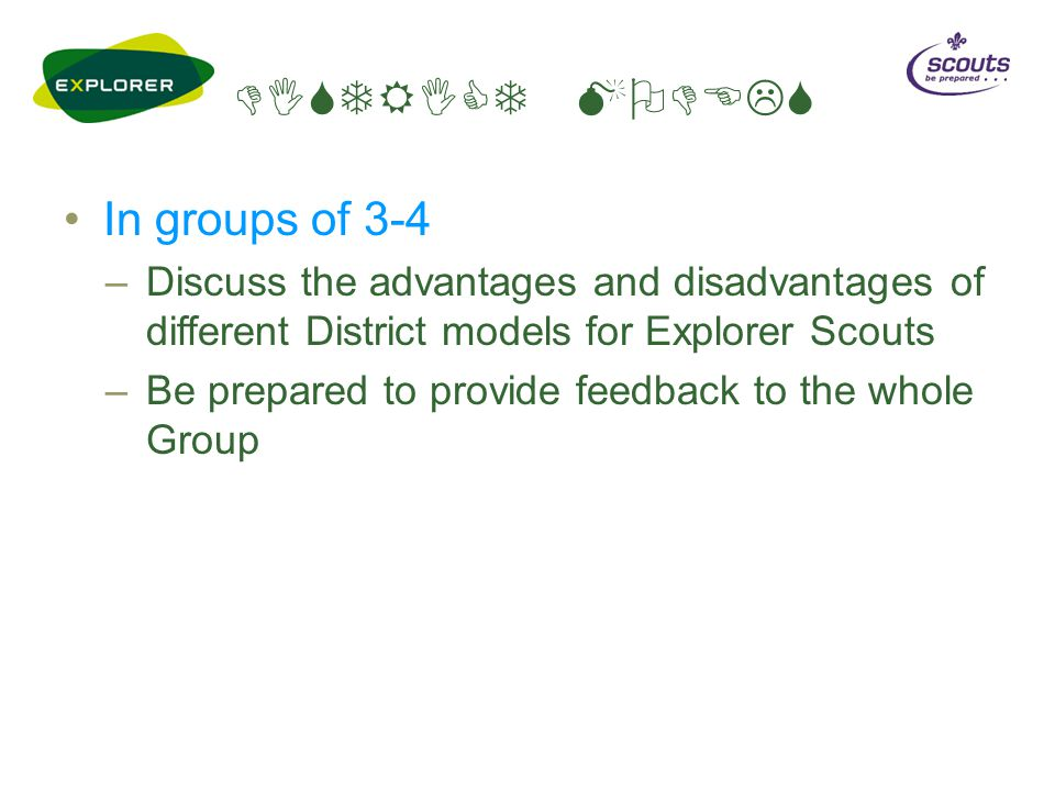 DISTRICT MODELS In groups of 3-4 –Discuss the advantages and disadvantages of different District models for Explorer Scouts –Be prepared to provide fe
