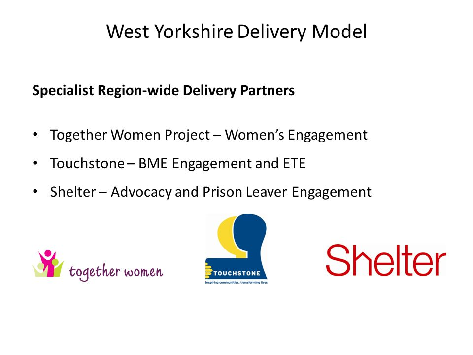 Specialist Region-wide Delivery Partners Together Women Project – Women's Engagement Touchstone – BME Engagement and ETE Shelter – Advocacy and Prison